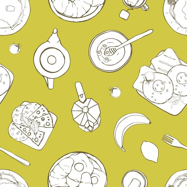 Бесшовный фон с сервированными вкусными завтраками, лежащими на тарелках, рисованной с контурными линиями на зеленом фоне. монохромная иллюстрация для оберточной бумаги, обоев, тканевой печати. Premium векторы