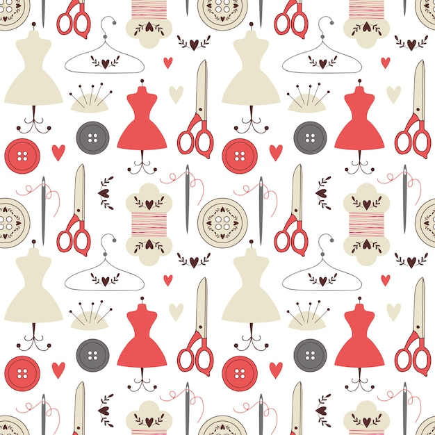 Seamless pattern with sewing elements. Premium Vector