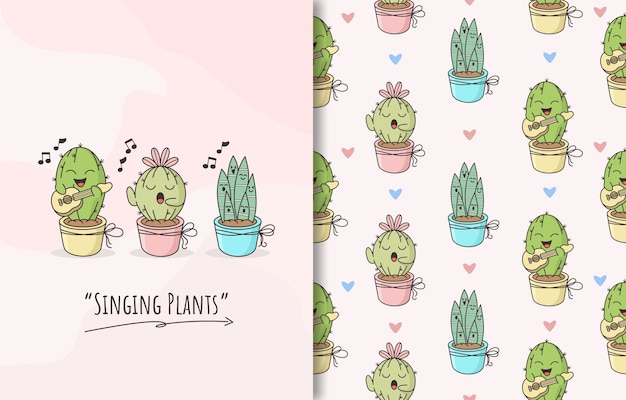 Seamless pattern with a singing plants cactus cute character Premium Vector