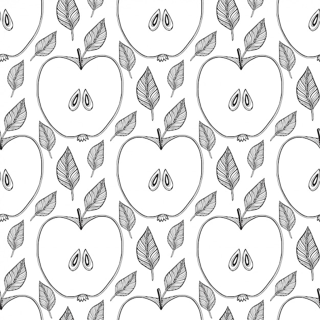 Seamless pattern with sketched apples Premium Vector