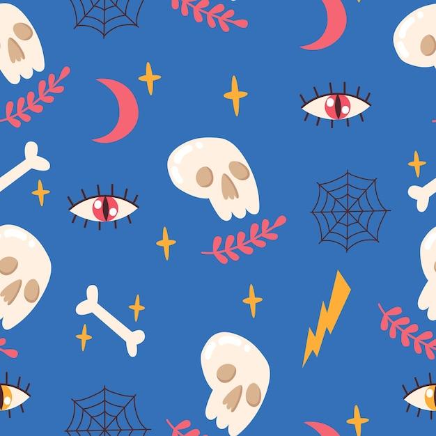 頭蓋骨、骨、目、月、星、蜘蛛の巣とのシームレスなパターン。ベクトルイラスト。 Premiumベクター