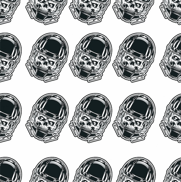 Seamless pattern with skull Premium Vector