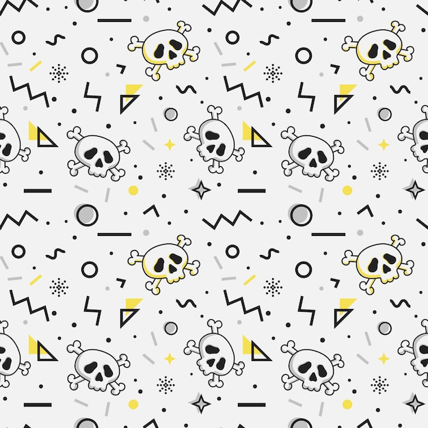 Seamless pattern with skulls. memphis style. Premium Vector