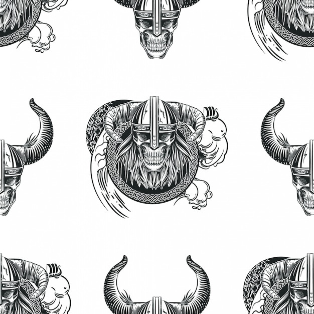 Seamless pattern with skulls in viking helmets. Premium Vector