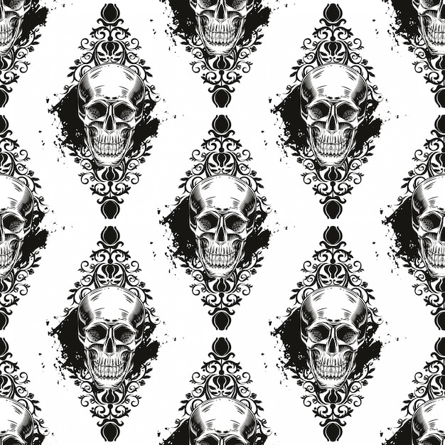 Seamless pattern with skulls on a  white background. Premium Vector