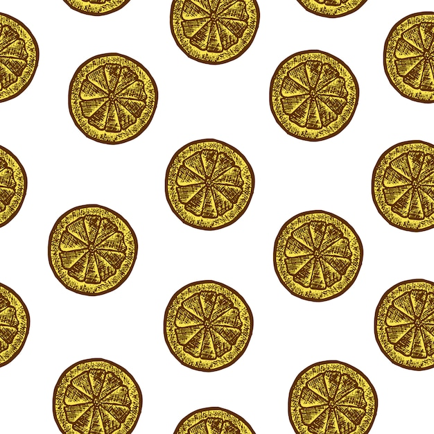 Seamless pattern with slice of lemons. vector sketch illustration. hand drawn Free Vector