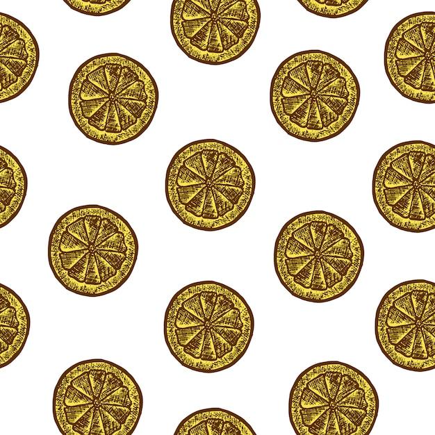 レモンのスライスとのシームレスなパターン。ベクタースケッチ図。手で書いた 無料ベクター