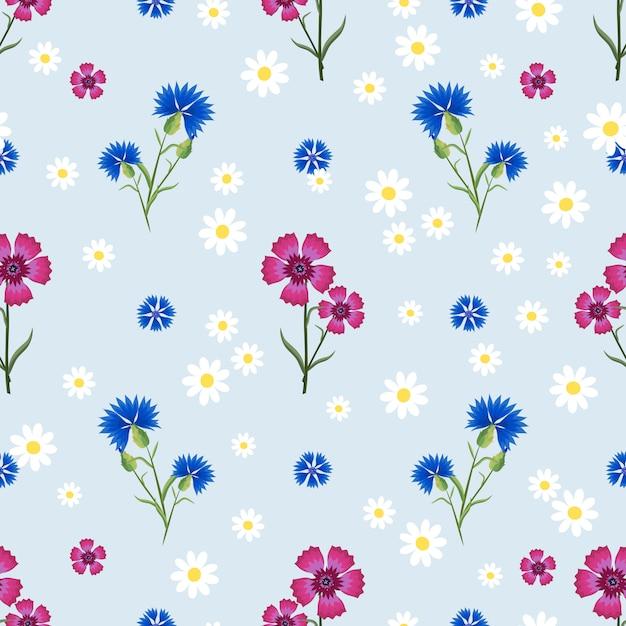 작고 큰 흰색 데이지, 핑크 카네이션과 블루 Cornflowers와 함께 완벽 한 패턴 프리미엄 벡터
