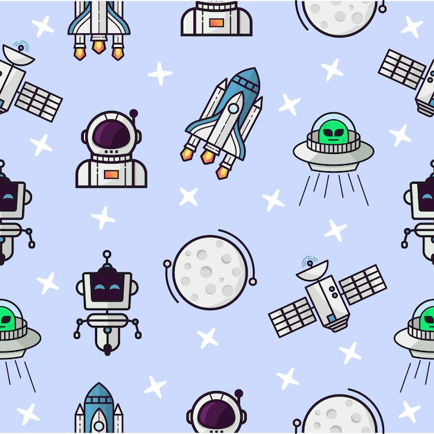Seamless pattern with space theme Premium Vector