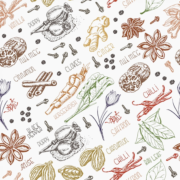Seamless pattern with spices Premium Vector