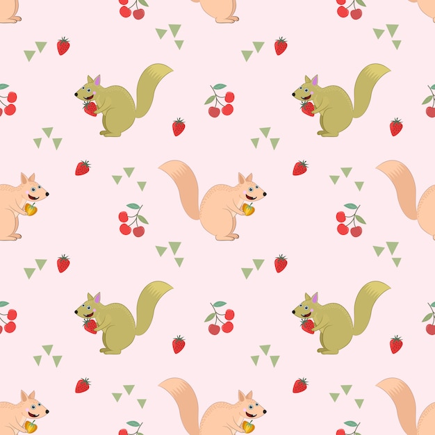Seamless pattern with squirel and fruit. Premium Vector