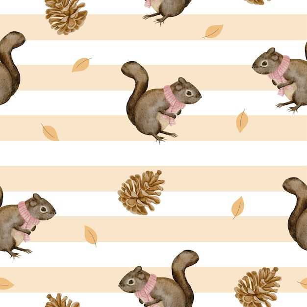 Seamless pattern with squirrel and dried pine cones, winter watercolor Free Vector