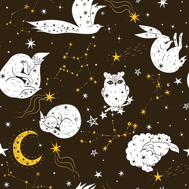 Seamless pattern with stars and animals. Premium Vector