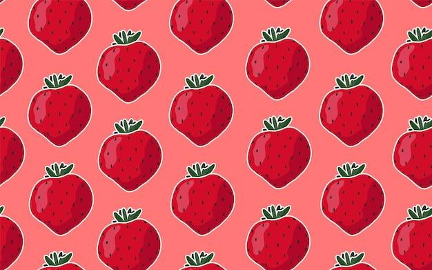 の背景にイチゴとのシームレスなパターン。 Premiumベクター
