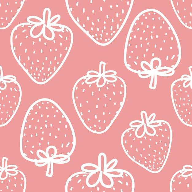 ギフト包装用イチゴのシームレスパターン。 Premiumベクター