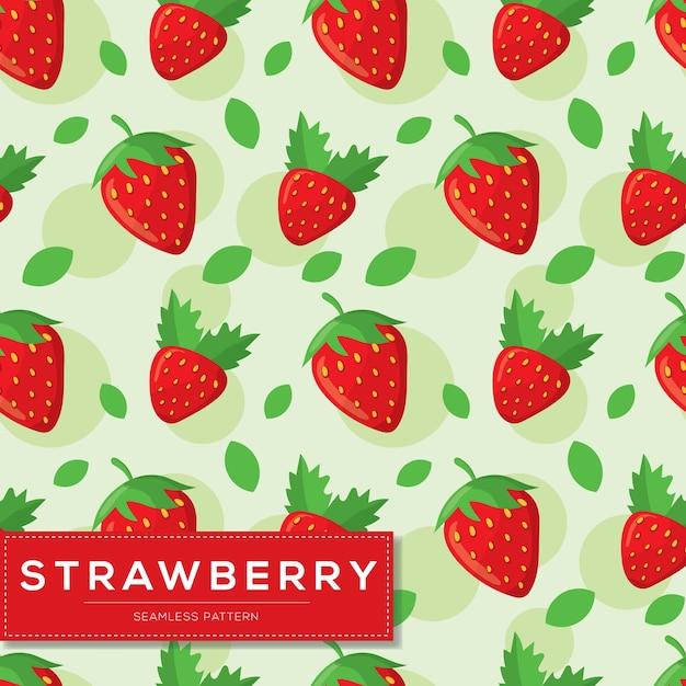 イチゴ果実とのシームレスなパターン Premiumベクター