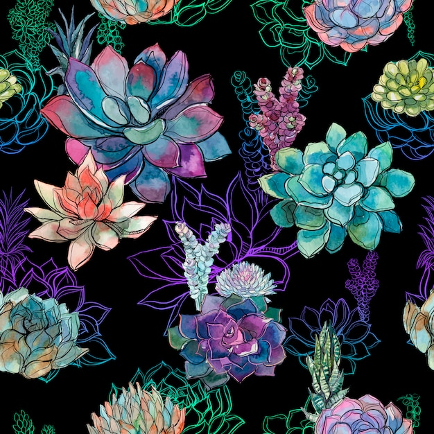 Seamless pattern with succulents on black background. Premium Vector