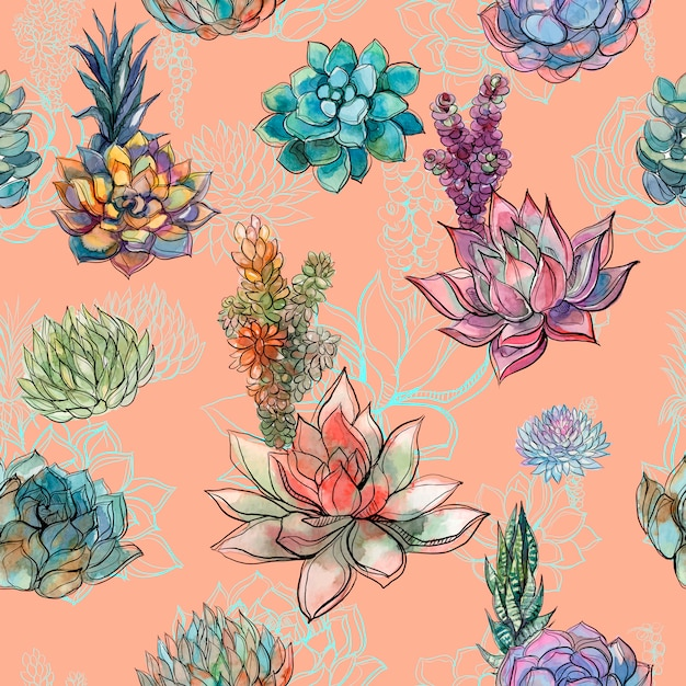 Seamless pattern with succulents Premium Vector