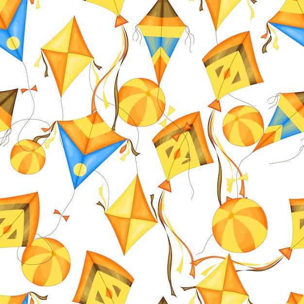 夏の凧とのシームレスなパターン Premiumベクター