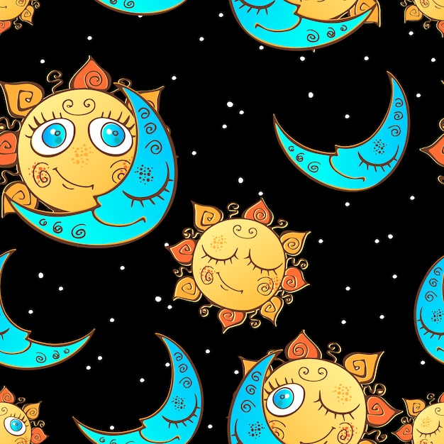 Seamless pattern with sun and moon for children Premium Vector