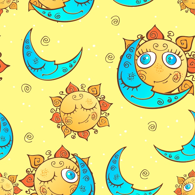 Seamless pattern with sun and moon Premium Vector