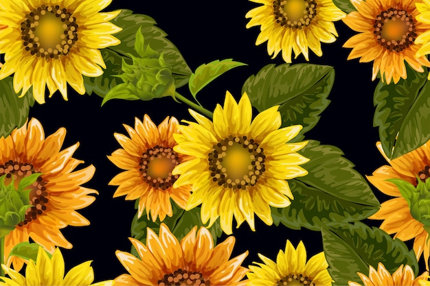 seamless pattern with sunflowers black background 43000 52