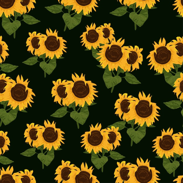 Seamless pattern with sunflowers and leaves Premium Vector