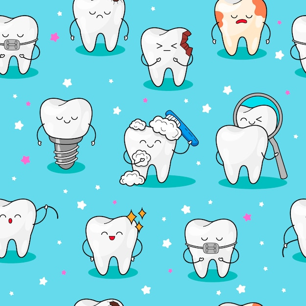 Seamless pattern with teeth. Premium Vector