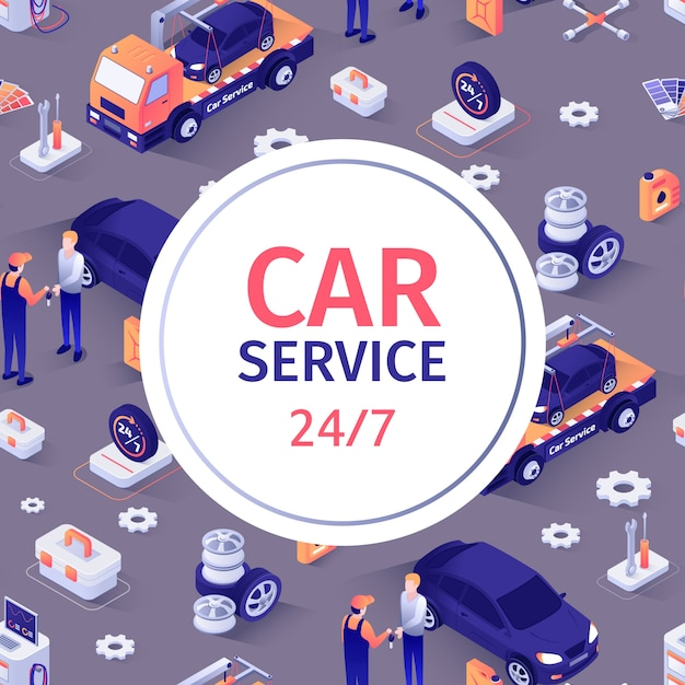 Seamless pattern with text for car repair service Premium Vector