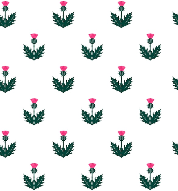 Seamless Pattern With Thistle Symbol Of Scotland Vector Premium