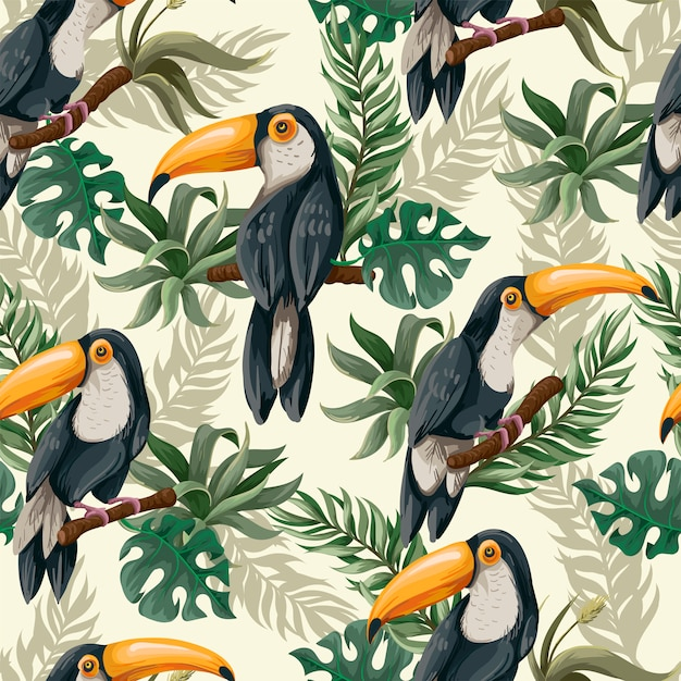 Seamless pattern with toucans in jungle. Premium Vector
