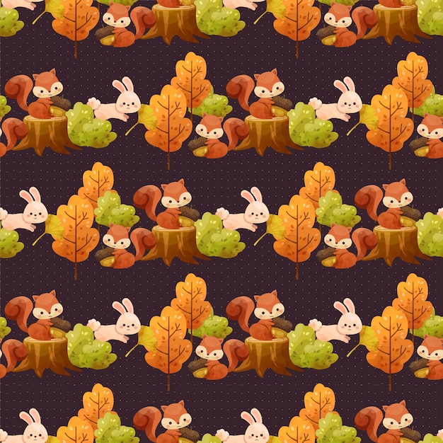 Seamless pattern with trees, leaves, squirrels and rabbits Free Vector