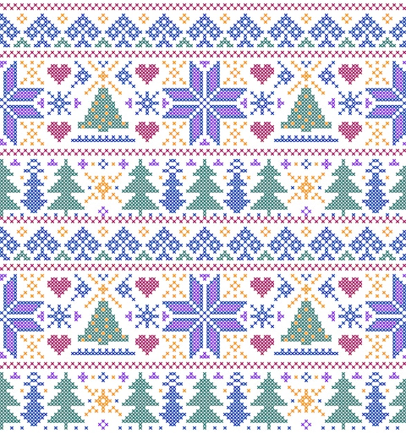 Seamless pattern with trees and snowflakes Premium Vector