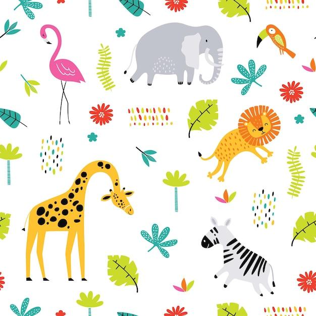 熱帯の動物とのシームレスなパターン。 Premiumベクター
