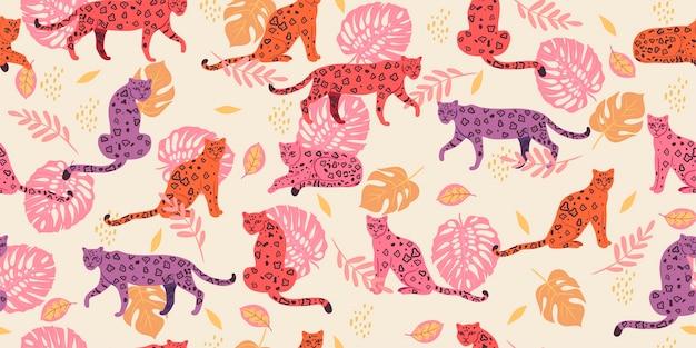 Бесшовный фон с тропическими листьями и леопардами. Premium векторы