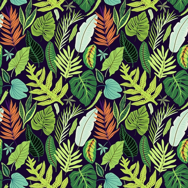 Seamless pattern with tropical leaves.  bright jungle pattern with palm leaves and exotic plant. Premium Vector
