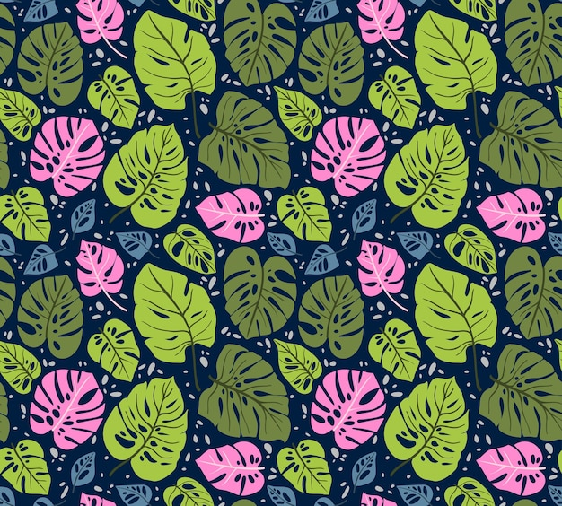 Seamless pattern with tropical leaves. monstera leaf. floral jungle ornament. Premium Vector