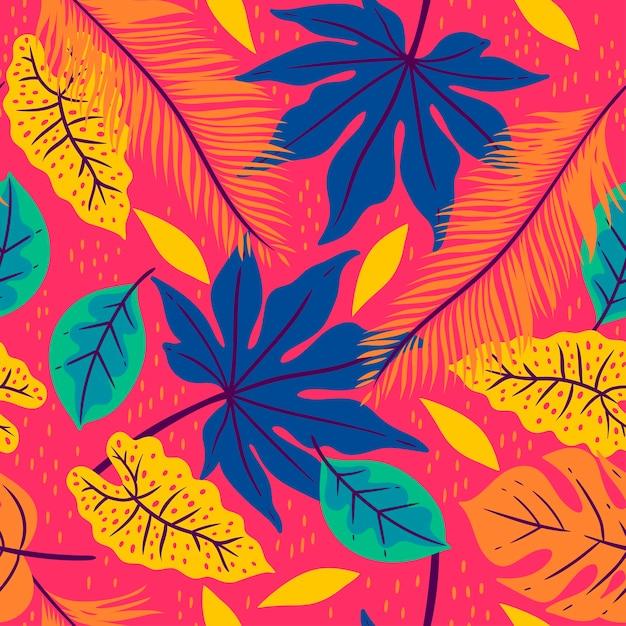ピンクの背景に熱帯の葉とのシームレスなパターン。 Premiumベクター