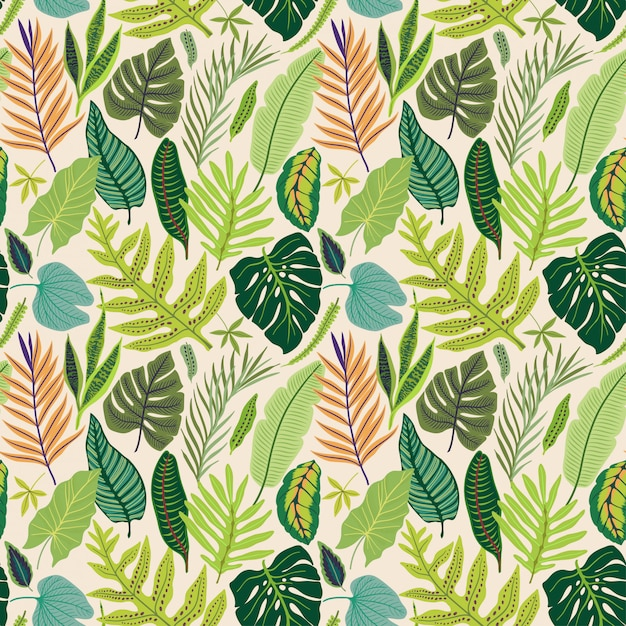 Seamless pattern with tropical leaves. Premium Vector