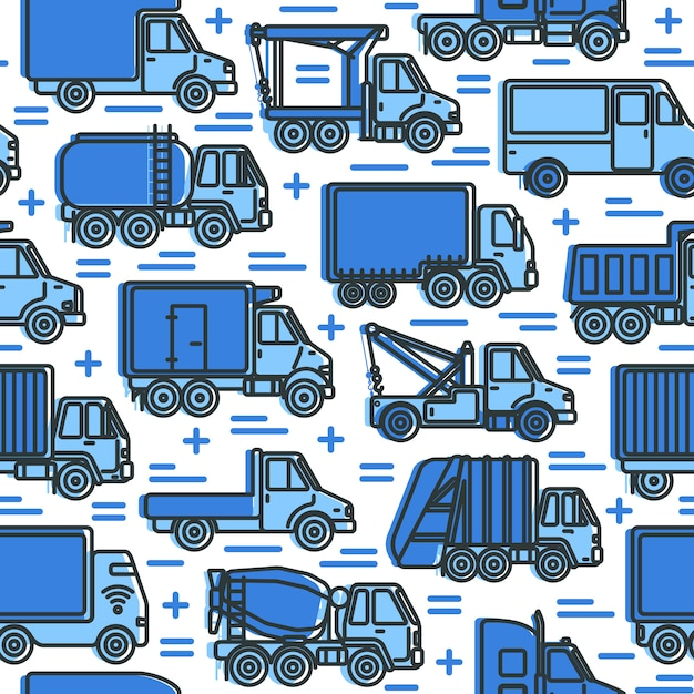 Seamless pattern with trucks in line style Premium Vector