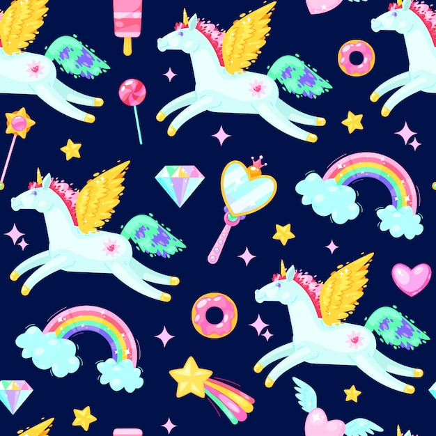 Seamless pattern with unicorns,hearts,candies, clouds, rainbows and other elements on dark background. Premium Vector