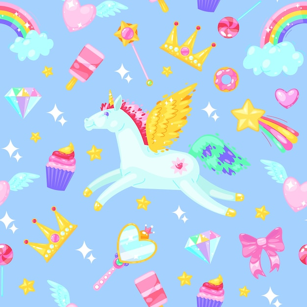 Seamless pattern with unicorns, hearts, dresses, candies, clouds, rainbows and other elements on blue. Premium Vector