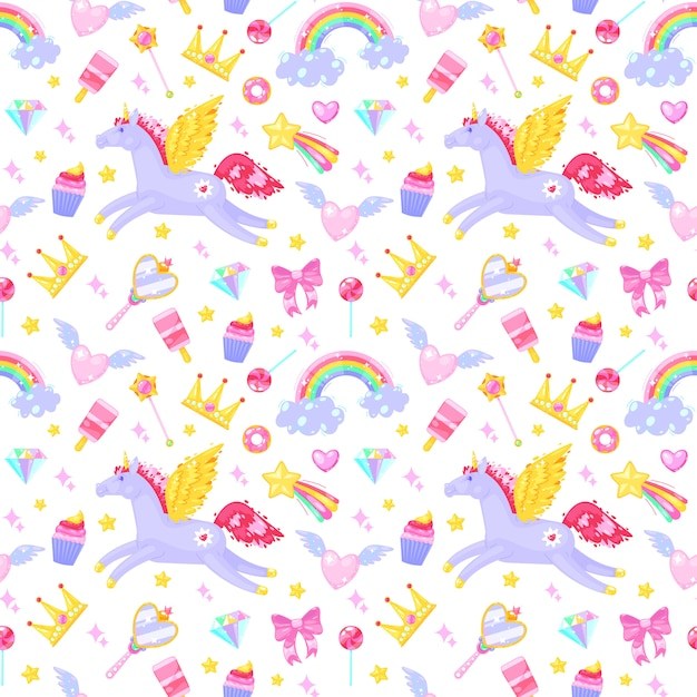 Seamless pattern with unicorns,hearts,dresses,candies, clouds, rainbows and other elements on white background. Premium Vector