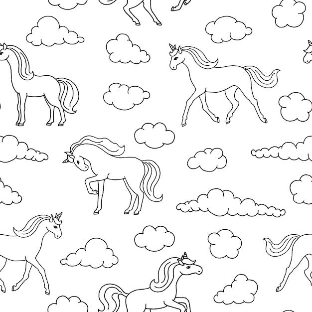 Seamless pattern with unicorns. Premium Vector