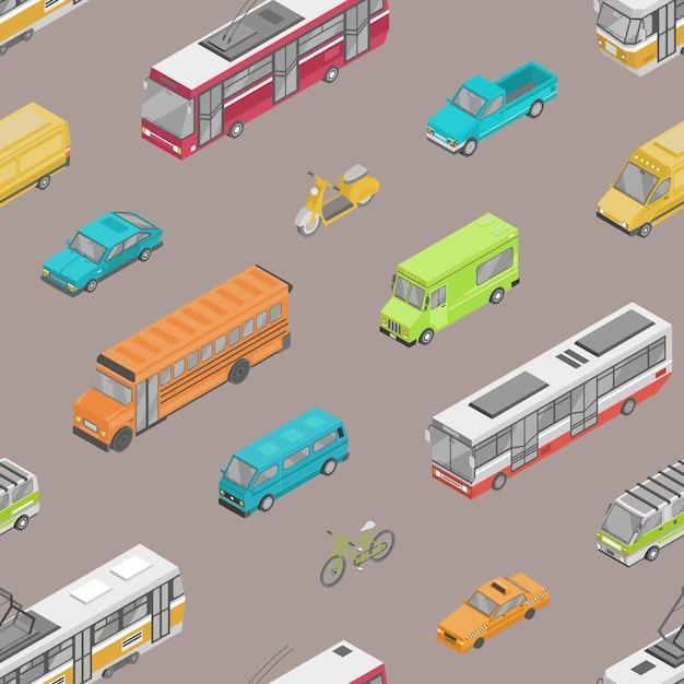 都市通りのイラストの都市交通や自動車輸送とのシームレスなパターン。 Premiumベクター