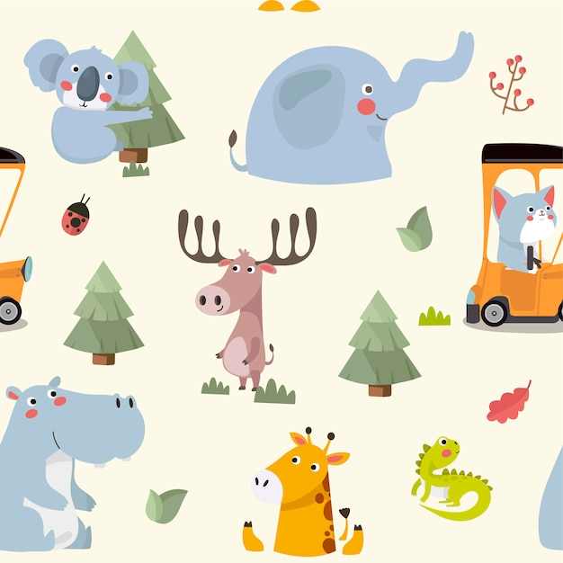 Seamless pattern with various cute and funny cartoon zoo animals. Premium Vector