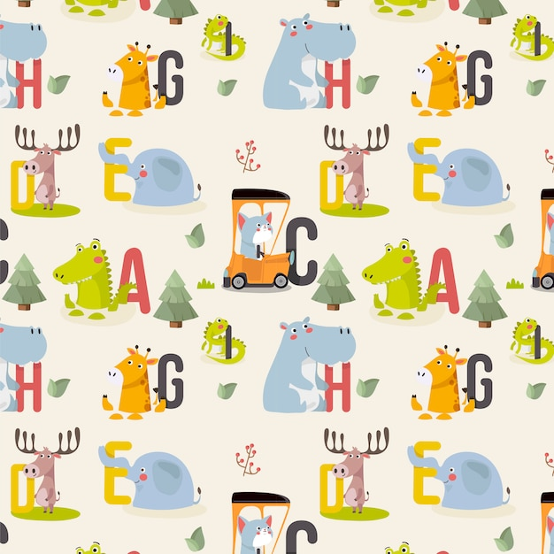 Seamless pattern with various cute and funny cartoon zoo animals Premium Vector