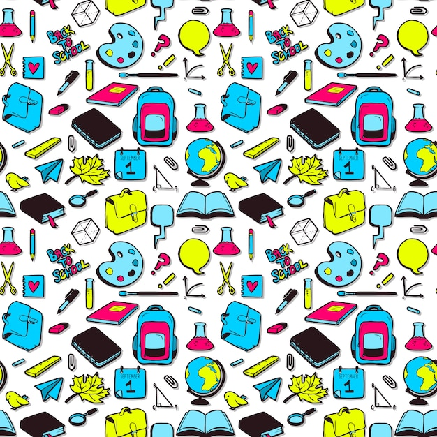 Seamless pattern with various elements for school. Premium Vector