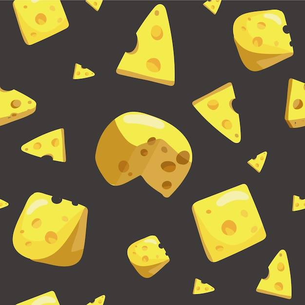 Seamless pattern with various piece of cheese with holes. Premium Vector