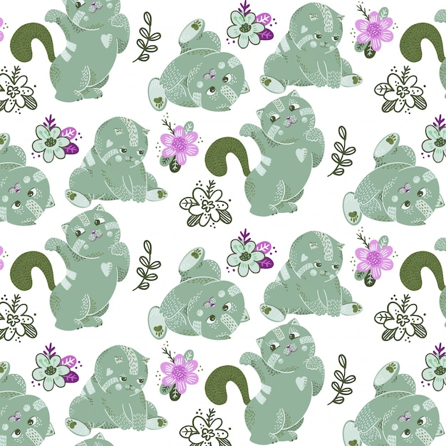 Seamless pattern with vector green cats and plants Premium Vector